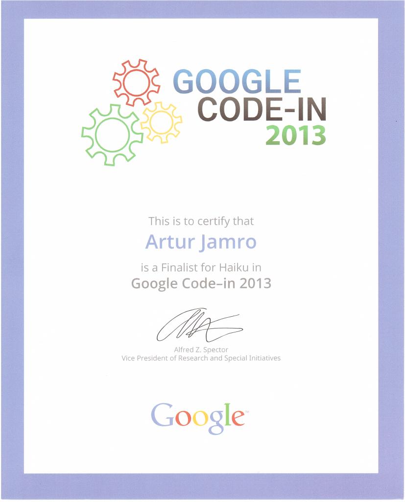Certyfikat GCI 2013